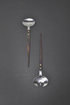 Vintage salad serving fork&spoon from Japan.