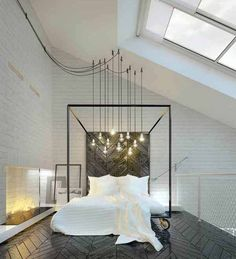 Love the lighting....for those old homes with no built in lights. 48 Incredibly unique and inspiring bedroom design ideas
