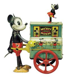 Vintage Toys Disney tin toys, this is Distler's early Mickey Mouse Hurdy Gurdy - Visit the post for more. Retro Disney, Vintage Disney, Metal Toys, Tin Toys, Vintage Mickey Mouse, Mickey Minnie Mouse, Vintage Tins, Vintage Antiques, Comic Cat