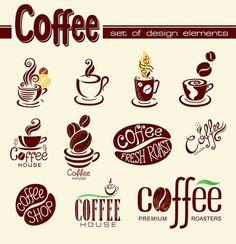 Creative Coffee logo design elements vector {Little Owl} Coffee Shop Logo, Coffee Shop Design, Coffee Branding, Coffee Cafe, Coffee Fonts, I Love Coffee, Coffee Set, Cafe Logos, Images Noêl Vintages