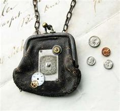 STEAMPUNK Antique Leather Doll Purse NECKLACE watch parts Tiny Coins ...