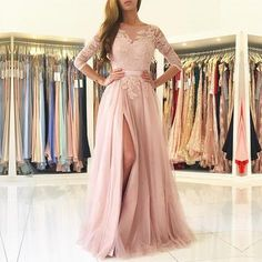 Modest Lace Appliques Nude Pink Tulle Bridesmaid Dresses
