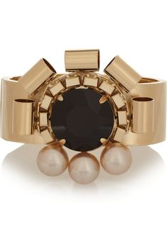 Gold-plated, Swarovski crystal and faux pearl cuff by Mawi