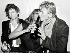 Keith Richards, Claudia Lennear and David Bowie.