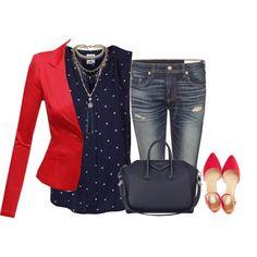 My red blazer by lenaick on Polyvore featuring moda, Vero Moda, Doublju, rag & bone, Oasis, Givenchy and Topshop