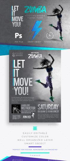 Zumba Fitness Flyer / Poster Template PSD. Download here: https://graphicriver.net/item/zumba-fitness-flyer-poster/21800543?ref=ksioks