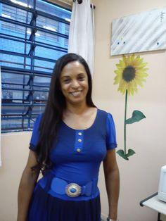 Moda Estilo 5.0 Conceição Loe Souza: Vestido de Malha na cor Azul. Lindo.