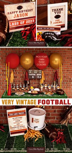 Football Party - Sports Party - Vintage - Printable Birthday Party Decorations - Pick Your Own Team Colors - FULL SET. $25.00, via Etsy.