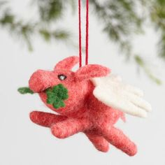 One of my favorite discoveries at WorldMarket.com: Wool Flying Pig Ornaments Set of 3