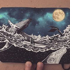 Don't forget to enjoy the Journey - Whales. Moleskine Black and White Ink Drawings. By Francisco Del Carpio.