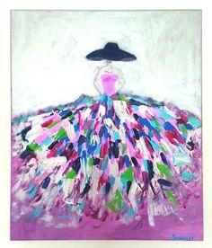 TABLEAU MODERNE FEMME ROBE COLOREE SUR TOILE FORMAT 55X46 : Peintures par sonia-creation