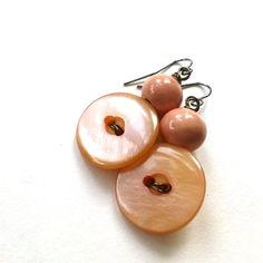 Pearly Peach Pink Vintage Button Earrings by buttonsoupjewelry, $8.00