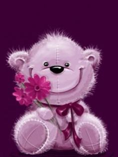 bear with flower gif Gifs, Bear Images, 3d Pictures, Bear Cartoon, Animation, All Things Purple, Cute Bears, Painted Doors, Loving U