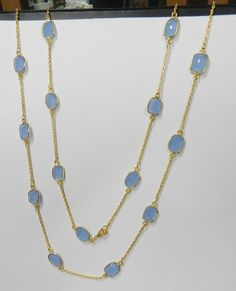 Blue Chalcedony Fancy Uneven Bezel Setting Gold plated Brass Long chain Necklace #magicalcollection #celebritiesjewelry #necklace