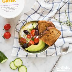 Savory Sunday Brunch! Top your Wallaby Greek Yogurt with chopped tomato, cucumber, avocado, olive oil, salt & pepper.
