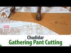 Chudidar Gathering Pant Cutting Tutorial With Measurement-Churidar Pant Stitching Classes, Churidar, Salwar Kameez, Kurti, Tailoring Classes, Salwar Pants, Pants Tutorial, Capri Trousers, Sewing Pants