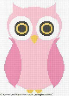 Crochet Patterns - OWL Baby Girl Afghan Pattern *EASY (Could also be made into a cross stitch pattern!) Use bulk yarn and hook recommended from the yarn lable. Single crochet and do a girlie border Cross Stitch Owl, Cross Stitching, Cross Stitch Embroidery, Cross Stitch Patterns, Owl Patterns, Afghan Crochet Patterns, Knitting Patterns, Crochet Afghans, Tunisian Crochet