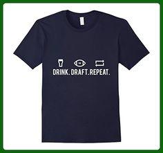 Mens Fantasy Football Drink Draft Repeat T-Shirt Large Navy - Fantasy sci fi shirts (*Amazon Partner-Link)