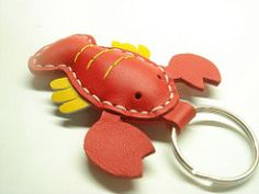 lobster leather keychain (leatherprince) Tags: red leather keychain keyring handmade etsy keyfob bagcharm leatherprince