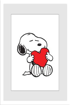 Description: A beautiful addition to a baby's nursery or child's bedroom, this framed art features Snoopy. In a simple color palette, this Peanuts pup hugs a big red heart. - Peanuts wall art featurin