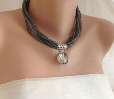 New Design, Smoky Crystal Necklace with Crystal Drop, 2016 Spring -Summer Collection necklace,bridal jewelry,