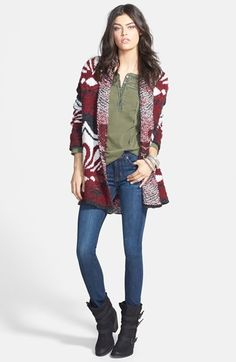 Free People Cardigan, Henley & Hudson Jeans Skinny Jeans  available at #Nordstrom