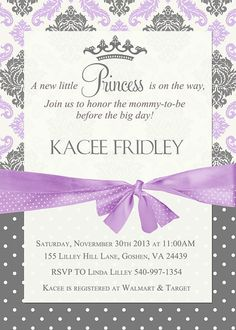 254 best invites images on pinterest invites baby showers and princess baby shower invitation lavender and grey damask princess invitation baby girl shower invitation printable or printed filmwisefo