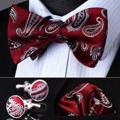 BZP09R Red Gray Paisley Men Silk Self Bow Tie handkerchief Cufflinks set