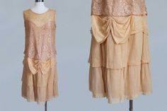 1920s Dress / Authentic FLAPPER Dress / Nude Lace and Chiffon AMAZING