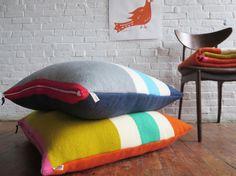XL 30x30, Wool Floor Cushion in Mango or Navy with Leather Zip Pull, by Erin Flett, super gushy insert