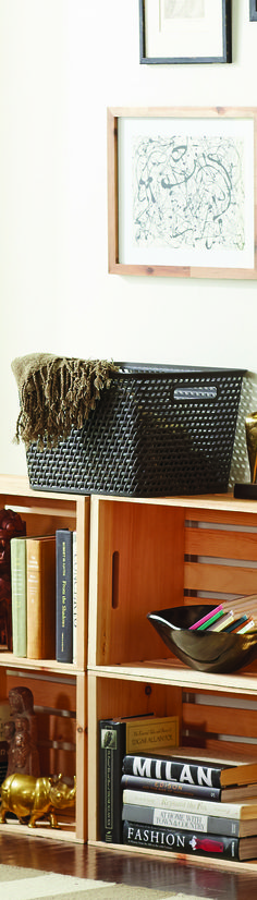 Curver Baskets are great storage solutions. With their varying sizes you can fit them in plenty of tight spaces, and their modern design helps them blend in!