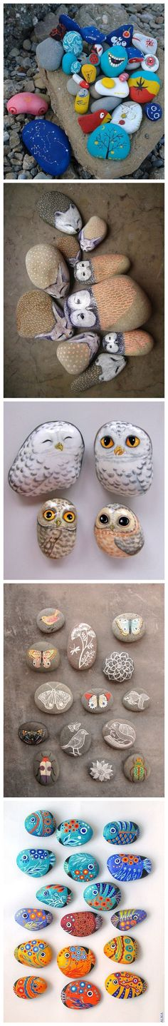 Painted rocks made into refrigerator magnets!