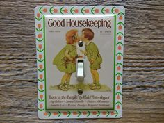 Cute Switch Plate Made From Good Housekeeping Tins by tincansally