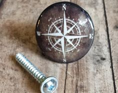 Handmade Compass Birch Wood Knob Drawer Pulls, Antique Style Nautical Cabinet Pull Handles, Sea Dresser Knobs, We Make Customized Orders