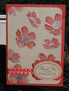Pretty card by The Crafty Crafter: CAS-ual Fridays. I must try this with embossing powder and then colouring in! Pretty!