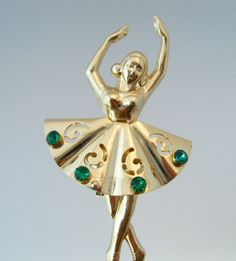 CORO Ballerina Figural Brooch Vintage 1950s Signed Ballet Dancer Rhinestone Pin