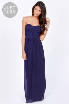 LULUS Exclusive Slow Dance Strapless Navy Blue Maxi Dress at LuLus.com! bridesmaid...maybe all long? :)