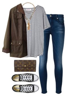 typical by tabooty on Polyvore featuring Organic by John Patrick, Barbour, 7 For All Mankind, Converse, Louis Vuitton, Jules Smith, women's clothing, women's fashion, women and female