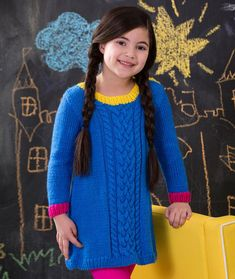 Girl's Cabled Dress Free Knitting Pattern from Red Heart Yarns