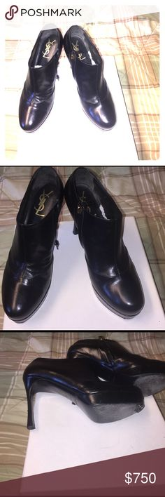 Authentic Yves Saint Laurent Booties Black leather Yves Saint Laurent Booties. In perfect condition worn 2x's and still in fab condition as the day they were purchased .The right shoe, shows tissue paper to keep the shoes form. The soles are bare minimal wear, at the ball ends of the shoes. Cobbler can paint. There's no damage at all! 😊Serious buyers or traders . Please don't waste my time with a thousand and 1 questions, you already have answers to🤔You don't have to buy or trade. It's an…