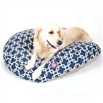 Large Round Pet Bed Navy Blue Links