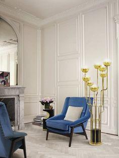 10 moderne Sessel für ein schönes Wohnzimmer | wohnideen und inspirationen zu Hause | Brabbu Inca Blau Samt Sessel Inca und auch Niko Stehlamp | wohn-designtrend.de