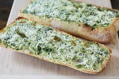 Basil Butter Garlic Bread     2 ounces, weight Butter     2 Tablespoons Olive Oil     1 bunch Basil Leaves (generous Handful)     1 bunch Parsley (use 1/3 Of The Amount Of Basil)     2 cloves Garlic     1 whole Green Onion     2 pinches Salt To Taste     1 pinch Pepper To Taste     1 loaf Ciabatta Or French Bread     1-½ cup Grated Parmesan Cheese (up To 2 Cups)