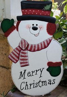 Christmas Snowman Outdoor Yard Stake - Wood Winter Sign Decoration - Door or Wall Hanging Wooden Christmas Crafts, Christmas Yard Art, Christmas Yard Decorations, Christmas Signs Wood, Christmas Snowman, Christmas Projects, Christmas Ornaments, Wood Decorations, Christmas Carnival