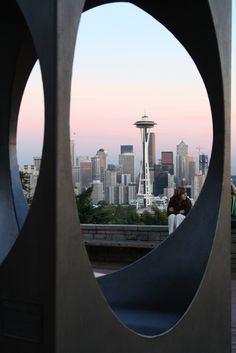 Space Needle in Seattle seen through a Kerry Park sculpture.