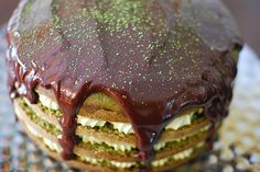 Matcha Green Tea Cake filled with Green Tea Mousse and smothered with a rich ganache