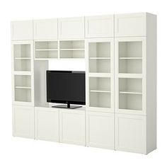 "BESTÅ TV storage combination Width: 118 1/8 "" Depth: 15 3/4 "" Height: 90 1/2 "" Width: 300 cm Depth: 40 cm Height: 230 cm. $589"