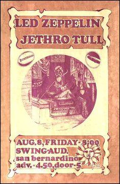 Led Zeppelin, Jethro Tull - San Bernardino, USA 1969 flyer