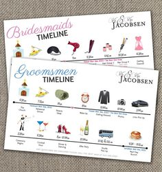 Bridesmaids & Groomsmen Big Day Time line by EventswithGrace, $60.00