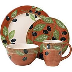 Pfaltzgraff Everyday 16-piece Olive Branch Dinnerware Set | Overstock™ Shopping - Great Deals on Pfaltzgraff Casual Dinnerware  sc 1 st  Pinterest & Oneida Tuscan Olive Pattern Salad Plate | eBay | Courtyard ...
